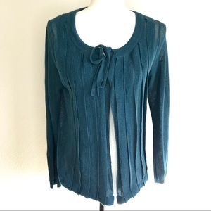 Anthropologie Pleated Open Cardigan Ribbon Tie Med